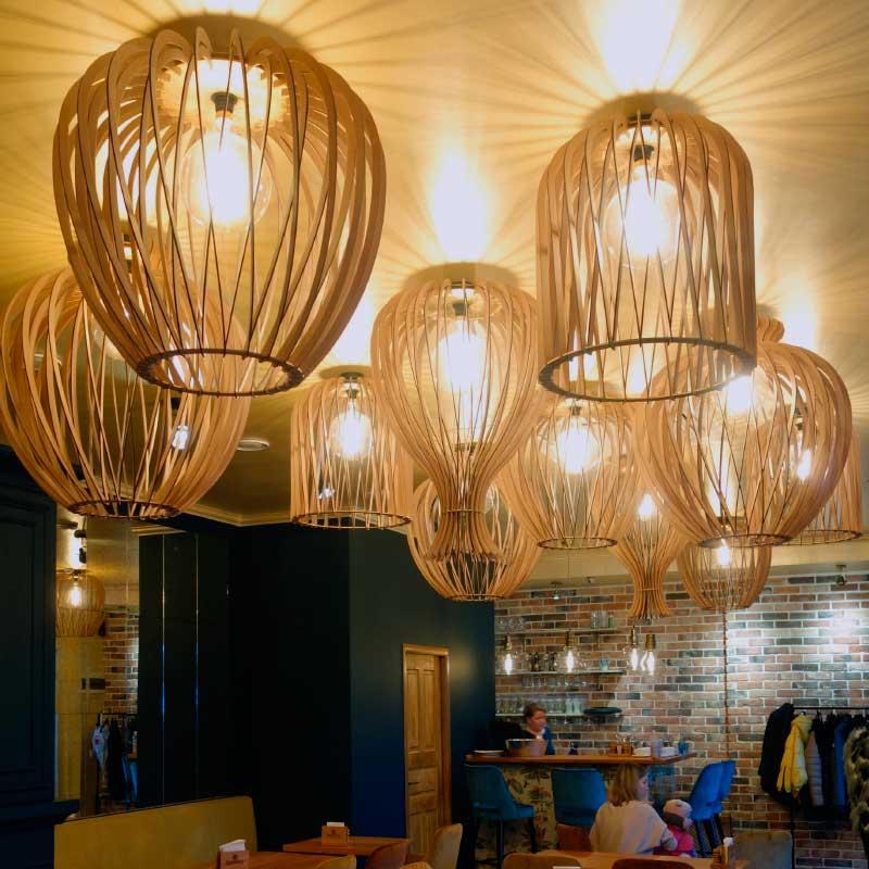 Дизайнерские светильники для дома, офиса, кафе и ресторанов Проектирование и изготовление светильников и изделий из дерева.