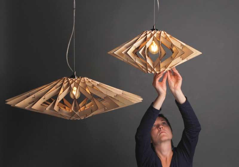 Дизайнерские светильники из дерева и фанеры на заказ
